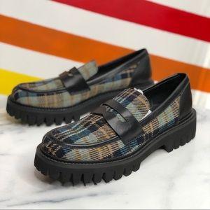 NEW Bibi Lou Plaid chunky penny loafers 37